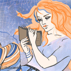 Smart Women Bend Spacetime - Girl Reading - original artwork by IlluScientia 2015